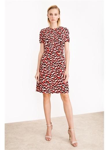 Ekol Ekol Kadın Sıfır Yaka Desenli Elbise  Kırmızı